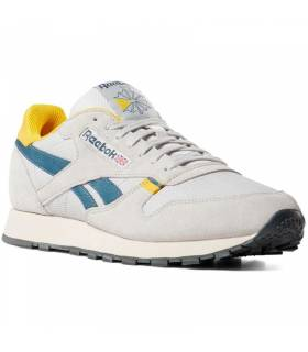 REEBOK CLASSIC LEATHER GRIS AMARILLO HOMBRE