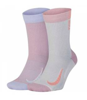 NIKE CALCETINES MULTIPLIER CREW ROSA BLANCO